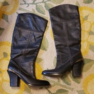 Lucky brand leather heeled boots